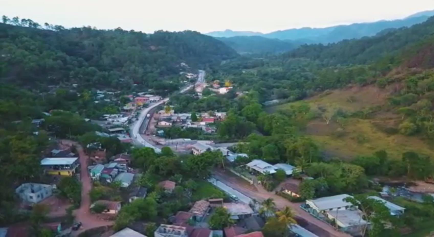 Aerial view of La Entrada road section (Copán)